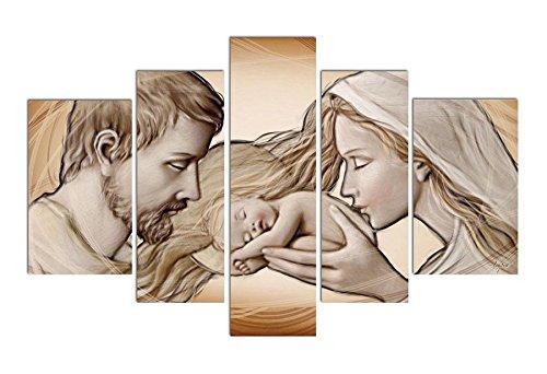 Deco Italia Quadro sacro su 5 pannelli in legno – Sacra Famiglia Holy Kiss Brown da appendere anche senza chiodi | 145 x 83 cm