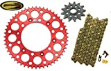 #10: Chain and Sprocket with Keepitroostin Sticker Fits Honda Cr125 204-2007 Crf250 2004-2013 (Front Sprocket 13 Rear Sprocket 48, Red)