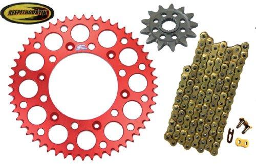 Chain and Sprocket with Keepitroostin Sticker Fits Honda Cr250 1988-2007 Cr500 1988-2001 Crf450 2002-2014 (13 front sprocket 51 rear sprocket, Red) - Honda Renthal Sprockets
