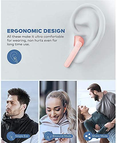 Bluetooth Earbuds Noise Canceling Sports Headphones with Charging Case IPX5 Waterproof Stereo Earphones in-Ear Built-in HD Mic Headset (Pink)
