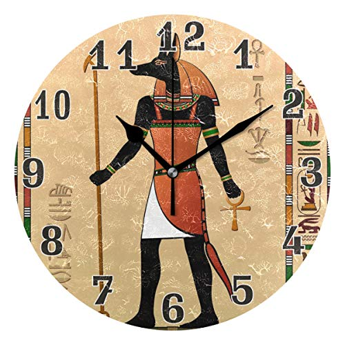 - WXLIFE Vintage Egypt Egyptian Anubis Round Acrylic Wall Clock, Silent Non Ticking Art Painting for Kids Bedroom Living Room Office School Home Decor