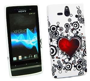 Kit Me Out ES ® Funda de gel TPU + Cargador para coche + Protector de pantalla con gamuza de microfibra para Sony Xperia U - Blanco, Negro, Rojo Tatuaje de corazón