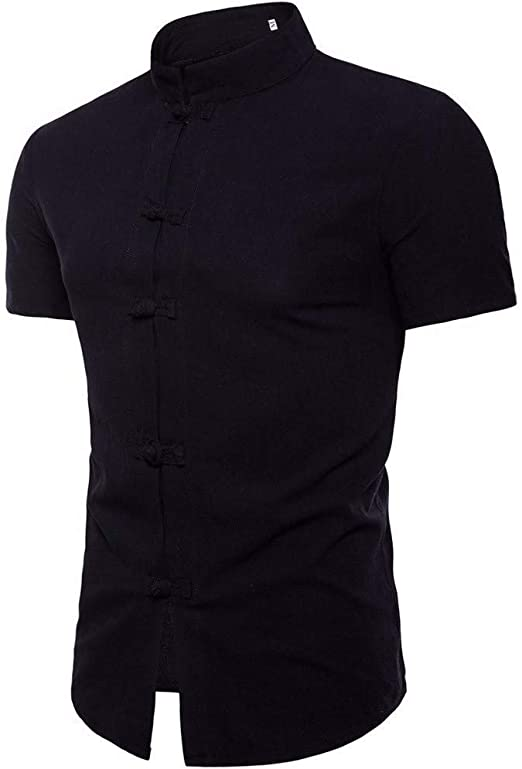 Casual Men T-Shirt Formal Work Stand Collar Business Slim Shirts Top Tees Blouse