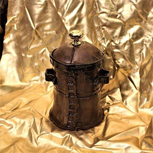 Dragons Dragons and More Dragons has Steampunk, Leather Look ceramic Steampunk canister with simulated wrought iron band and handles
