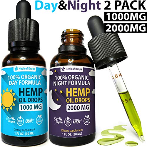 (2-Pack) Hemp Oil Extract for Pain, Anxiety & Stress Relief - New Day & Night Formula - (1000mg + 2000mg) 100% Organic Hemp Extract for Depression and Inflammation Reduction - Grown & Made in USA (Best Cannabis For Anxiety)