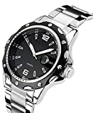 Men's Unique Analog Quartz Waterproof Business Casual Stainless Steel Band Wrist Watch Classic Design Calendar Date Wristwatch Black