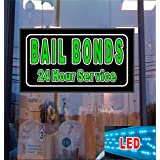 Bail Bonds 24 Hr Service LED Light Up Sign