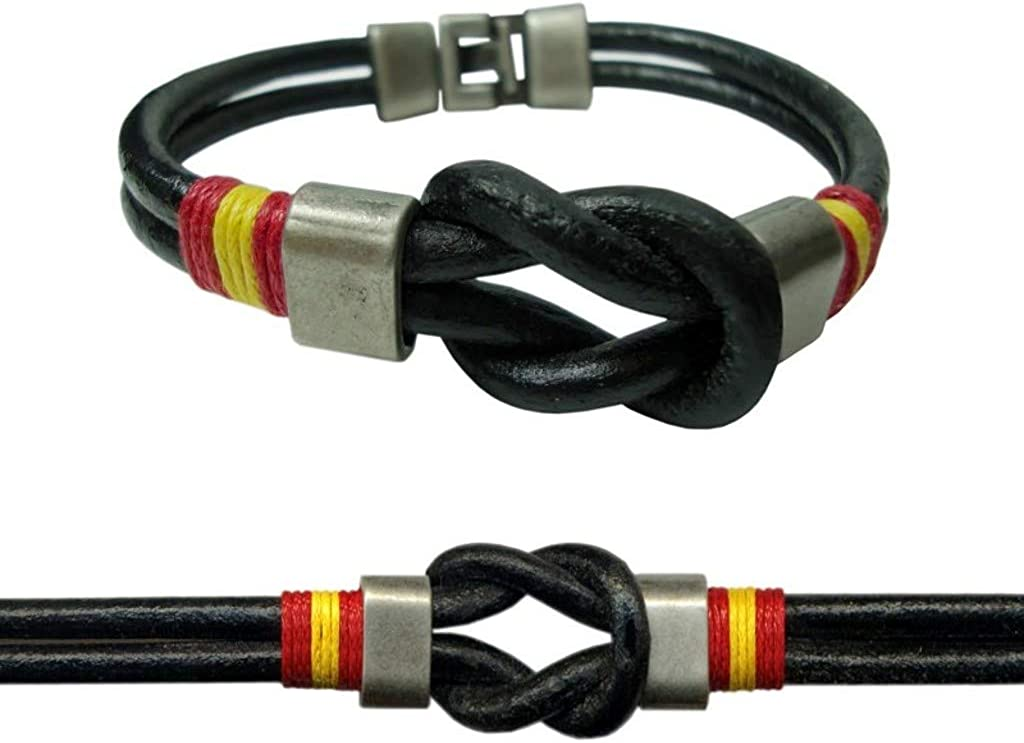 JOSVIL Pulsera España con Cordón de Cuero Nudo Marinero en Color Negro. Pulsera de España con Cierre Cómodo