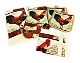 Rooster Kitchen Towel and Dish Cloth Set with 2 Pot Holders and 1 Oven Mitt Bundle of 6 Items
