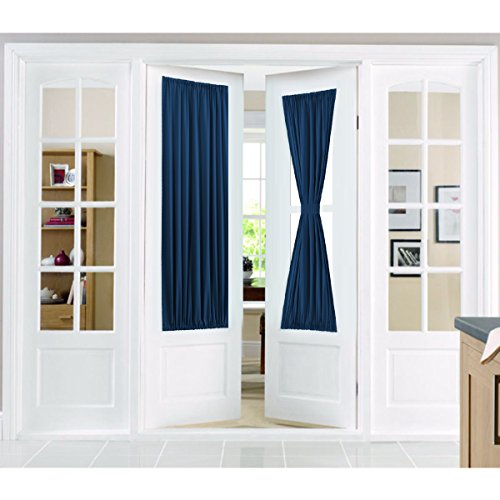 Flamingo P Privacy French Door Curtains with Tieback,Solid Room Darkening Rod Pocket, Single Panel, 25 x 72 Inches, ()