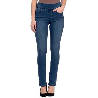 Lola Jeans Women s Rebeccah High Rise Pull On Straight Leg Stretch Denim  (Medium Blue 93195db4179