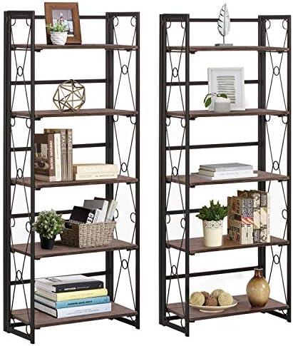 VECELO 5 Tier Bookshelf Set of 2 Industrial Folding Bookcase