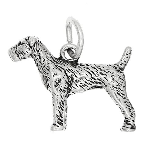 Airedale Dog Charm - Lgu Sterling Silver Oxidized Three Dimensional Airedale Dog Charm