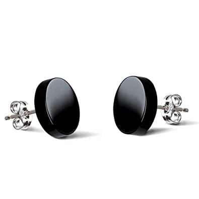 21b0ed9843ff4 Natural Onyx Earrings 925 Sterling Silver rhodium Plated for Men Women  Hypoallergenic Earrings