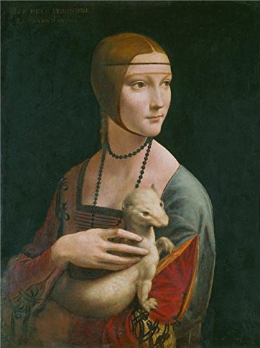 The High Quality Polyster Canvas Of Oil Painting 'Leonardo Da Vinci, Lady With An Ermine,1489 - 1490' ,size: 18x24 Inch / 46x61 Cm ,this Reproductions Art Decorative Prints On Canvas Is Fit For Laundry Room Decor And Home Decor And (Ermine Robe)