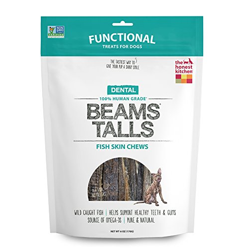 The Honest Kitchen Beams Grain-Free Dog Chew Treats - Natural Human Grade Dehydrated Fish Skins, 6 oz Tall