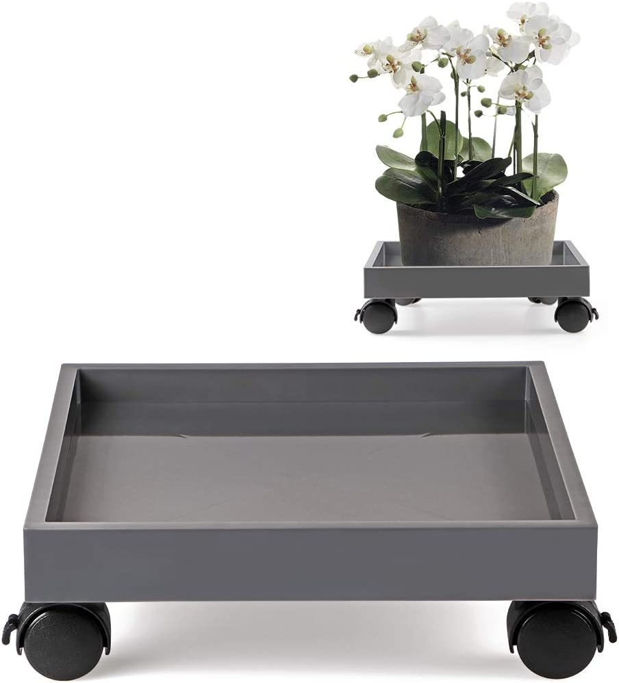Skelang Square Plant Caddy, Wheeled Planter Trays, ABS Plant Pallet, Heavy Duty Plant Dolly Saucer for Moving Potted Planter, Deck Flower Plants, Load Capacity 110 Lbs