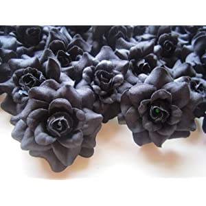 "(24) Silk Black Roses Flower Head - 1.75"" - Artificial Flowers Heads Fabric Floral Supplies Wholesale Lot for Wedding Flowers Accessories Make Bridal Hair Clips Headbands Dress 47"