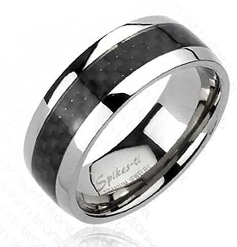 Solid Titanium Carbon Fiber Inlay Band Ring (Sizes 9-13)