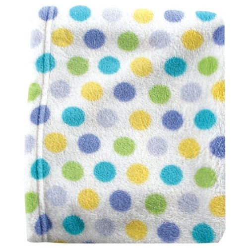 (Luvable Friends Dot Print Coral Fleece Blanket, Blue )