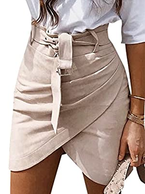 Missy Chilli Women's High Waist Suede Mini Skirt Belt Winter Bodycon Wrap Skirt
