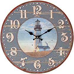 Lily's Home Rustic Wood-Style Country Lighthouse Wall Clock, Fits Nautical or Country Décor, Battery-Powered with Quartz Movement, Ideal Gift for Lighthouse Fans (13 Diameter)
