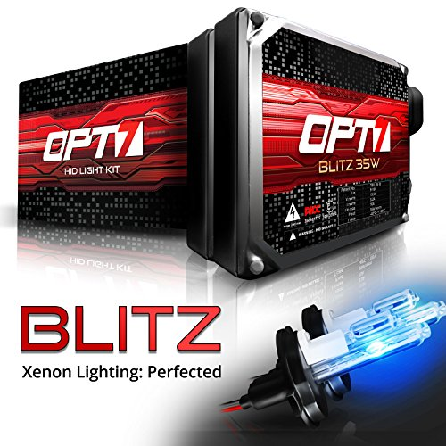 OPT7 Blitz HID Kit 3.5x Brighter - 4x Longer Life - All Colors and Sizes Simple DIY Install - 2 Yr Warranty - Bulbs and Ballasts [9007 Hi-Lo - 10K Deep Blue Xenon Light]