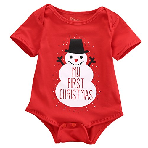 Newborn Baby Kids Snowmen My First Christmas Romper Jumpsuit Outfits Costume (0-3 Months, Snowman)]()