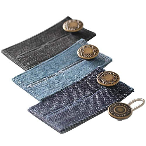 3-Premium Jean Denim Button Extenders (Plus 1-Bonus Metal Pant Extender Button) - Perfect for 1/2 to 2 Inch of Extra Breathing Room, fit Men or Women Pants