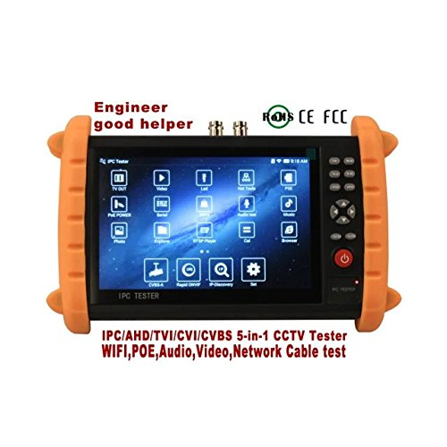 GXA 7 Inch Touch Screen 1080P HDMI IP/AHD/CVI/TVI/ CVBS Camera Tester CCTV Tester Test POE WIFI Audio-In+Out With 16G TF Card IPC-K700SACT (Iron gray + orange)
