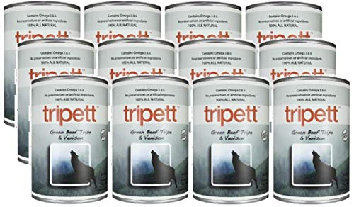 Tripett Green Beef Tripe & Venison Dog Food, 13 oz cans, Pack of 12
