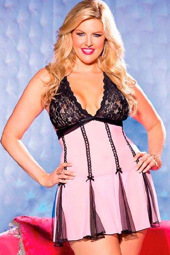 Shirley of Hollywood Baybydoll Mesh/Stretch Lace (Pink/Black;One - Shirley Stretch Mesh Hollywood Of