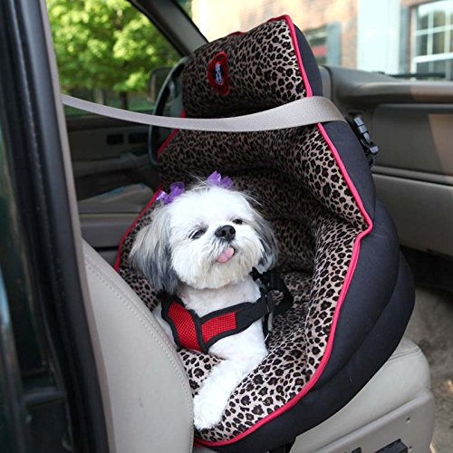 PupSaver Crash-Tested Car Safety Seat for Small Dogs (Lynx Faux Fur with Black Back)
