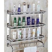 LJMM Bathroom shelving, bathroom double bath towel rack, toilet bathroom hardware, wall hanging towel rack, stainless steel punching,Double curved double deck,30cm
