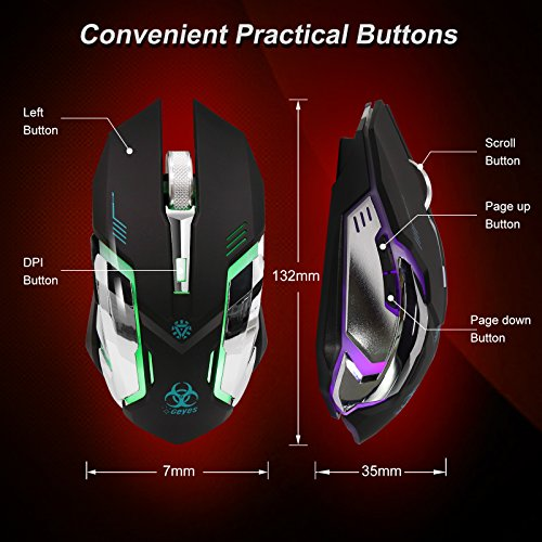 VEGCOO C9s (Updated Version) Wireless Gaming Mouse, Rechargeable Silent Click Mice with Nano Receiver, Changing Breathing Backlit, 3 Adjustable DPI Up to 2400 for Gamer, Laptop, PC, Macbook (Black) by VEGCOO (Image #4)