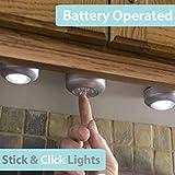 Pixnor 6pcs Battery Powered Round Stick-on Click 3-LEDs Bright LED Push Light Lamp