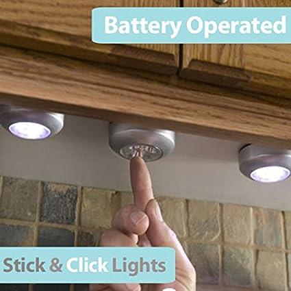 LEORX 6pcs pilas grifo palo empuje 3-LED lámpara de luz (luz blanca): Amazon.es: Iluminación