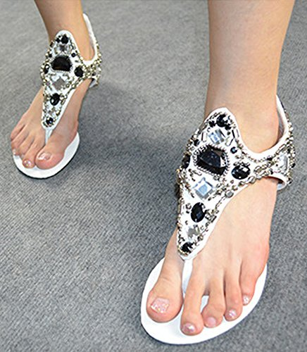 Minetom Mujer Verano Romano Bohemia T-Correa Sandalias Diamante De Imitación Chanclas Cuña Zapatos Clip Toe Sandals Playa Blanco