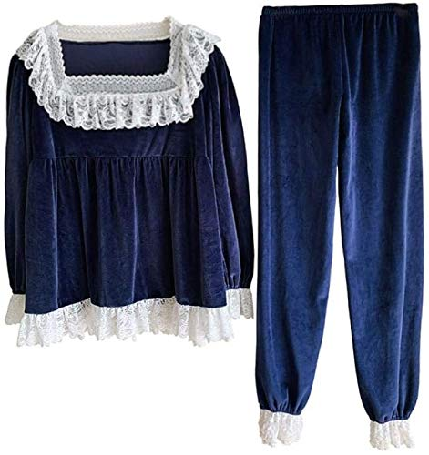 BESTSUGER Ladies' Warm Pajamas Nightgown,Autumn Winter Women Flannel Pajama Sets Vintage Ladies Palace Style Lace Ruffle…