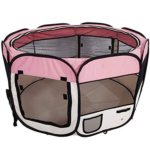 Cheap Baby Playpen PlayYard Folding Portable withTravel Bag Indoor Outdoor Pet Fence Puppy 45″ (Pink)