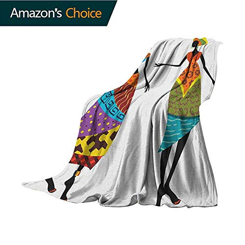 African Woman Cool Blanket,Tribal Ladies in Traditional Costume Silhouettes Ethnicity Vintage Display Super Soft and Warm,Durable Throw Blanket,60