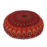 AAKARSHAN 32'' Mandala Floor Pillow Cushion Seating Throw Cover Hippie Decorative (Red)