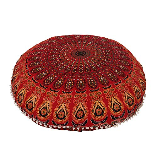 AAKARSHAN 32'' Mandala Floor Pillow Cushion Seating Throw Cover Hippie Decorative (Red) by AAKARSHAN