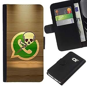 KingStore / Leather Etui en cuir / Samsung Galaxy S6 EDGE / Esqueleto del pirata Teléfono