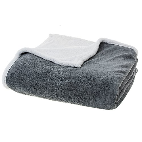 (Cheer Collection Plush Sherpa Fleece Throw Blanket | Super Soft and Cozy Reversible Grey Blanket - 60