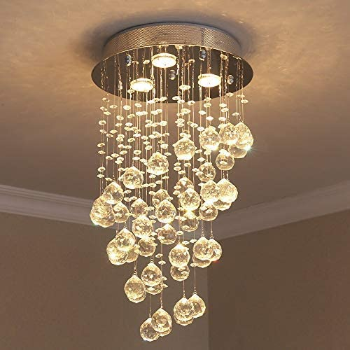 Raindrop Crystal Chandelier Light, Flush Mount Ceiling Light, H24 x W14 Modern Pendent Light Ceiling Lighting Fixture for Bedroom, Hallway, Bar, Kitchen, Bathroom