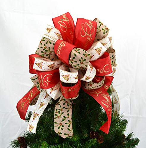 Red and Burlap Tree Topper Bows | Christmas Tree Bow Topper | Present Box Bow | Holly Berries
