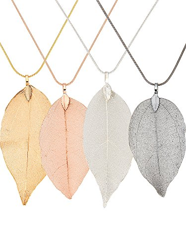 - Gejoy Leaf Chain Necklace Natural Filigree Leaf Pendant Necklace Leaf Earrings Long Bohemian Jewelry for Women Favors (4 Pieces Necklaces)