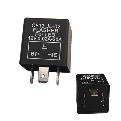 Dewhel 1 pc CF-13 CF13 EP34 3 Pin Electronic Flasher Fix 12V 0.02A-20A For LED Turn Signal Light Bulbs Hyper Blink Flash No Flash: Automotive