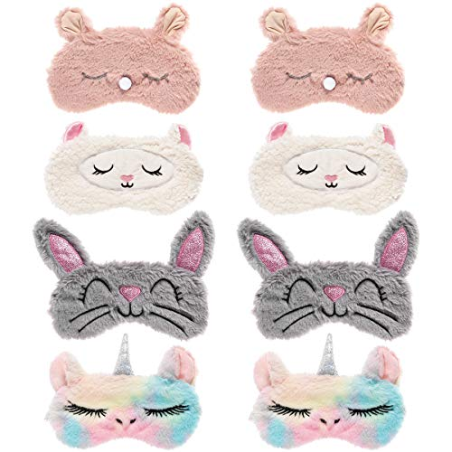 Biubee 8 Pack Cute Animal Eye Mask- Unicorn Alpaca Rabbit Bear Sleeping Mask Soft Plush Blindfold Cute Unicorn Horn Sleep Mask Eye Covers Eyeshade for Girls Women Kids Travel Nap Sleep Overnight Party
